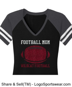 Football Mom V-Neck T-Shirt Design Zoom