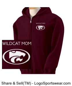 Wildcat Mom Zipper Hoodie Maroon Design Zoom
